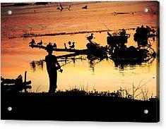 Gone Fishin' Acrylic Print by Lorri Crossno