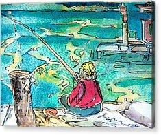 Gone Fishing Acrylic Print by Mindy Newman