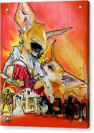 Gone With The Wind Chihuahuas Caricature Art Print Acrylic Print