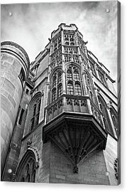 Acrylic Print featuring the photograph Gonville And Caius College Library Cambridge In Black And White by Gill Billington