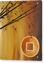 Acrylic Print featuring the painting Good Fortune Bamboo 2 by Dina Dargo