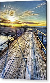 Good Harbor Beach Footbridge Shadows Acrylic Print