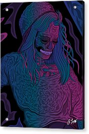 Acrylic Print featuring the drawing Good Vibes Skelegirl by Raphael Lopez