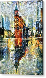 Acrylic Print featuring the mixed media Gooderham Flatiron Building In The Rain by Susan Maxwell Schmidt