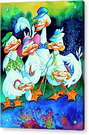 Goofy Gaggle Of Grinning Geese Acrylic Print by Hanne Lore Koehler