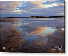 Goolwa Beach Reflections Acrylic Print by Mike Dawson