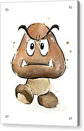 Goomba Watercolor Acrylic Print by Olga Shvartsur