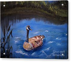 Acrylic Print featuring the painting Goose by Leslie Allen