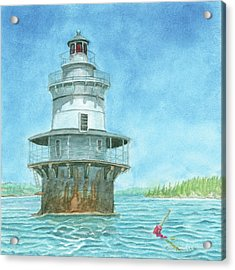Goose Rocks Light At High Tide Acrylic Print by Dominic White