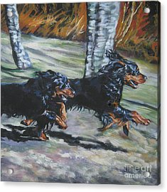 gordon Setter Autumn run Acrylic Print