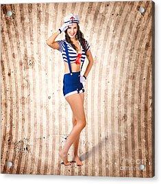 Gorgeous Young Retro Pinup Sailor Girl Acrylic Print