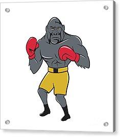 Gorilla Boxer Boxing Stance Cartoon Acrylic Print by Aloysius Patrimonio