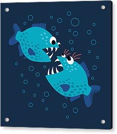 Gossiping Blue Piranha Fish Acrylic Print
