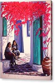 Gossips Acrylic Print by Yvonne Ayoub