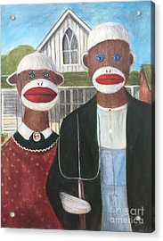 Acrylic Print featuring the painting Gothic American Sock Monkeys by Randol Burns