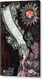 Acrylic Print featuring the mixed media Gothic Punk Goddess by Genevieve Esson
