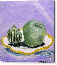 Gourd And Green Apple On Haviland Acrylic Print by Mary Carol Williams