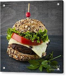 Gourmet Hamburger Acrylic Print by Elena Elisseeva