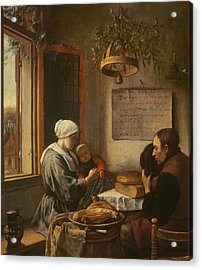 Grace Before Meat Acrylic Print by Jan Havicksz Steen