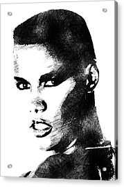 Grace Jones Bw Portrait Acrylic Print by Mihaela Pater