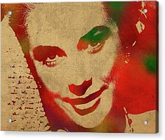 Grace Kelly Watercolor Portrait Acrylic Print by Design Turnpike
