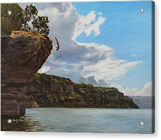 Graceful Cliff Dive Acrylic Print by Emily Olson