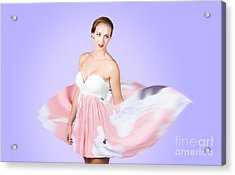 Graceful Dreamy Dancing Girl In Pink Dress Acrylic Print by Jorgo Photography - Wall Art Gallery