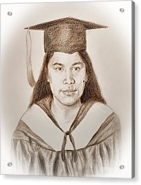 Graduation Portrait Of A Filipina Beauty  Acrylic Print by Jim Fitzpatrick