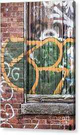 Acrylic Print featuring the photograph Graffiti Covered Wall Of An Old Abandoned Factory by Edward Fielding