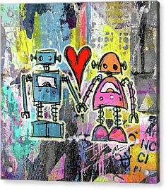 Graffiti Pop Robot Love Acrylic Print by Roseanne Jones