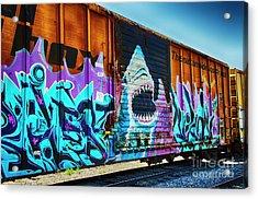 Graffiti Riding The Rails Acrylic Print by Bob Christopher