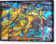 Acrylic Print featuring the photograph Grafiti Window by Michaela Preston
