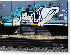 Grafitti Art Riding The Rails Acrylic Print by Bob Christopher