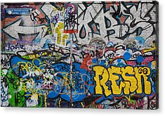 Grafitti On The U2 Wall, Windmill Lane Acrylic Print by Panoramic Images