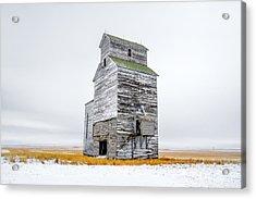 Grain Elevator On White Acrylic Print by Todd Klassy