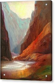 Grand Canyon Rafting Acrylic Print by Sally Seago