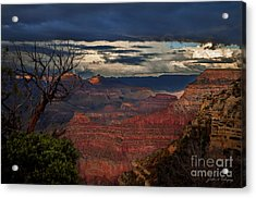 Grand Canyon Storm Clouds Acrylic Print by John A Rodriguez