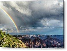 Grand Canyon Stormy Double Rainbow Acrylic Print
