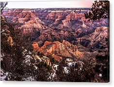 Grand Canyon Winter Sunrise Landscape At Yaki Point Acrylic Print