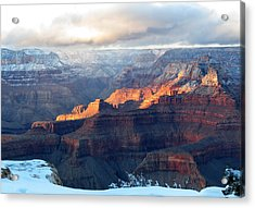 Grand Canyon With Snow Acrylic Print by Laurel Powell