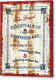 Grand Essentials Of Happiness Acrylic Print by Debbie DeWitt