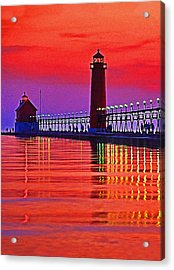 Grand Haven Lighthouse Acrylic Print by Dennis Cox