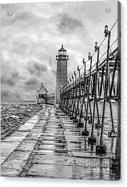 Grand Haven Lighthouse - Monochome Acrylic Print
