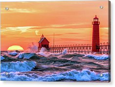 Acrylic Print featuring the painting Grand Haven Lighthouses by Christopher Arndt