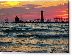 Grand Haven Pier Sail Acrylic Print