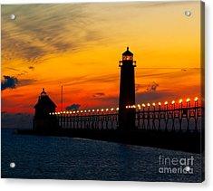 Grand Haven Sunset Acrylic Print by Nick Zelinsky