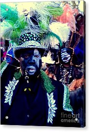 Grand Marshall Of The Zulu Parade Mardi Gras 2016 In New Orleans Acrylic Print by Michael Hoard