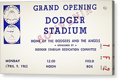 Grand Opening Dodger Stadium Ticket Stub 1962 Acrylic Print by Bill Cannon