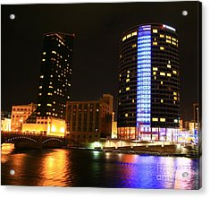 Grand Rapids Mi Under The Lights-4 Acrylic Print by Robert Pearson