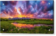 Grand Sunset In The Tetons Acrylic Print